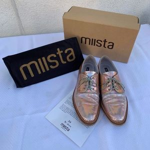 Miista Oxford-style gold iridescent lace shoes